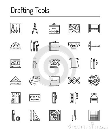 Free Drafting Tools Icon Collection. Engineering Drawing. Line Icons Stock Images - 94075394