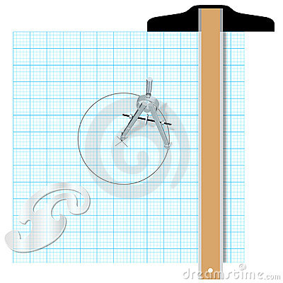 Drafting tools square compass engineering