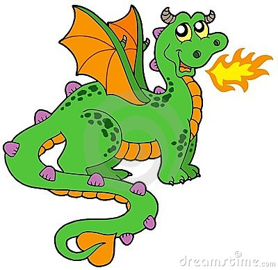 Dragão bonito com cauda longa