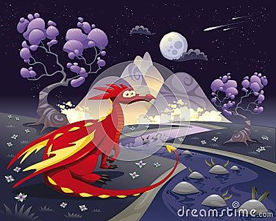 Dragón en paisaje en la noche.
