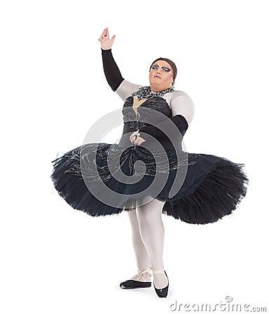 Drag queen dancing in a tutu