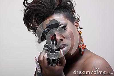 Drag queen with gun