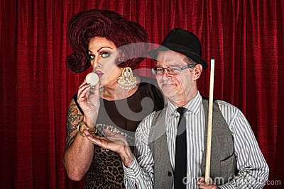 Drag Queen Kissing Cue Ball Royalty Free Stock Image