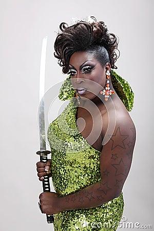 Drag queen with sword