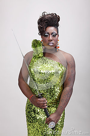 Drag queen with sword