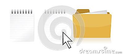 Dragging file inside a document folder Vector Illustration