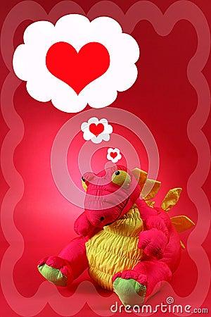 Dragón rosado con pensamientos del amor y del romance - tarjeta del día de San Valentín