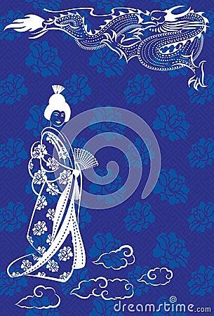 Dragón y geisha