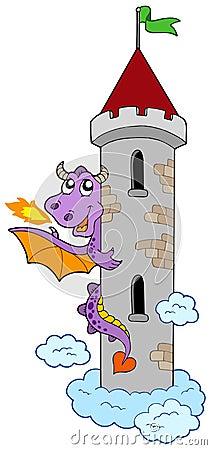 Dragão de espreitamento com torre do castelo