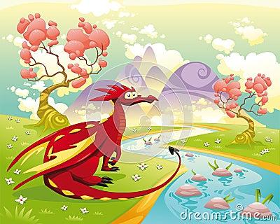 Dragão na paisagem.