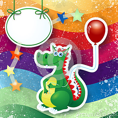 Dragon and balloon, custom background