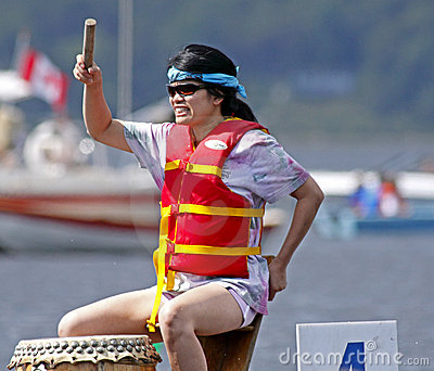 Dragon boat drummer beat Editorial Stock Image