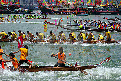 Dragon Boat Race in Hong Kong Editorial Stock Image