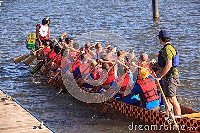 Dragon Boat Racers National Harbor Washington DC Editorial Photography