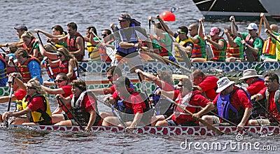 Dragon boat teams race Editorial Photo