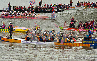 Dragon Boats at the Thames Pageant Editorial Image