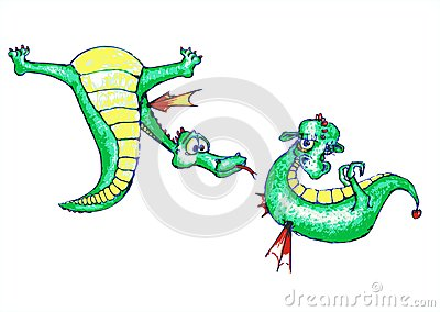 Dragon-boy courting a cute dragon-girl
