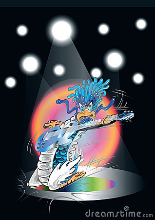 Dragon cartoon playing guitar in concert