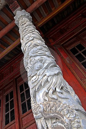 Dragon column of the royal palace in Hue, Vietnam