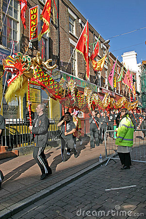 Dragon Dance at Chinese New Year Celebrations Editorial Stock Photo