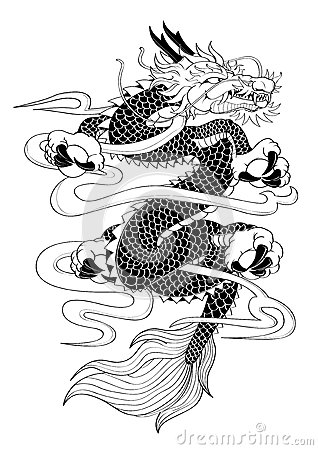dragon de style japonais de tatouage illustration de vecteur image 65620295. Black Bedroom Furniture Sets. Home Design Ideas