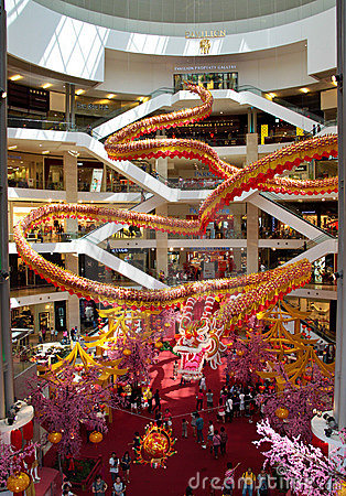 Dragon Deco at shopping complex Editorial Stock Image