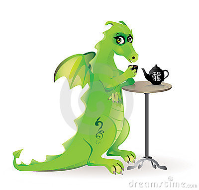 Free Dragon Drinking Tea In Café Stock Images - 22266234