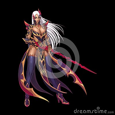 Free Dragon Fighter, Knight Girl With Anime And Cartoon Style Isolated On Black Background Royalty Free Stock Photos - 121926318