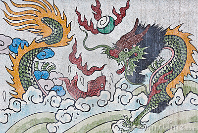 Dragon  and fish painting on mable wall