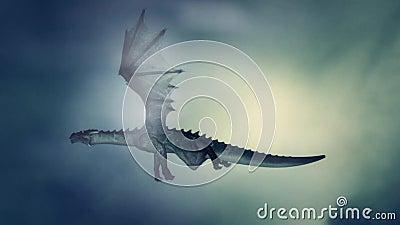 Dragon Flying Against o vento ilustração royalty free