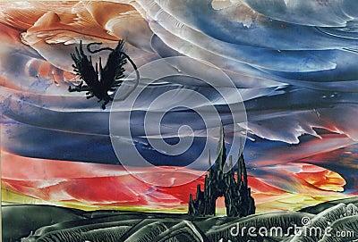 Dragon Flying over Castle