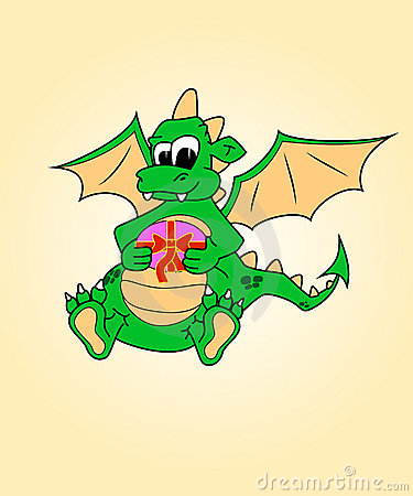 Dragon with a gift. Humor, surprise.symbol traditi