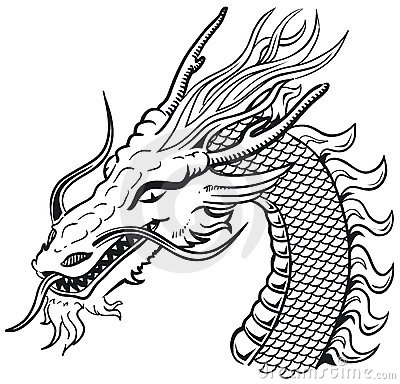 Dragon head b&w