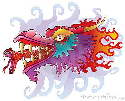Dragon head with snake tongue