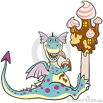 Dragon with ice cream castle