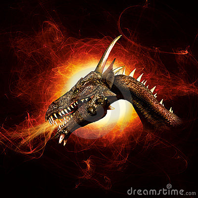 Free Dragon In Plasma Flames Stock Image - 19608051