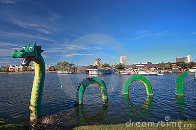 Dragon at Lego zone of Downtown Disney Editorial Image