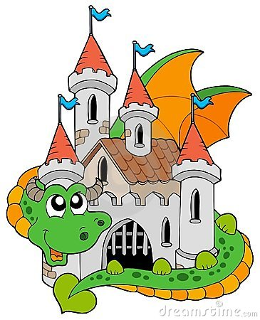 Dragon with old castle