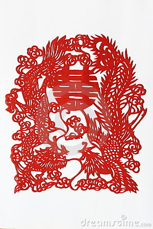 Dragon Phenix Double Happiness Paper Cutting (2)
