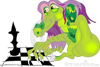 Dragon playing chess