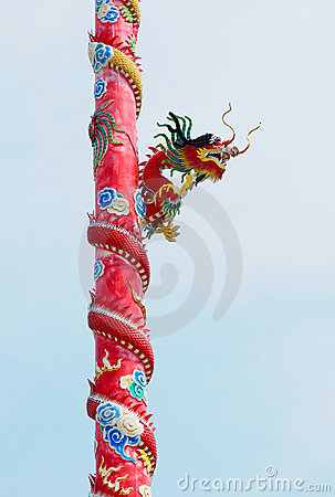 Dragon on red pole