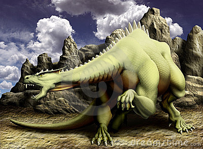 Dragon in rocks