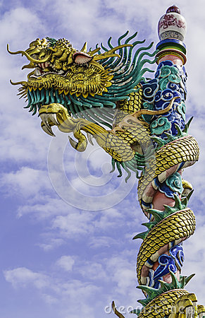 Dragon on roof at chinese temple,thailand