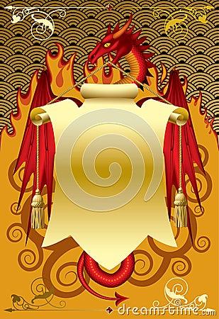 dragon avec le drapeau image libre de droits image 10804406