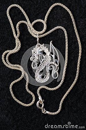 Dragon - a silver necklace.