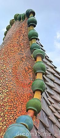 Dragon spine by Gaudi - Casa Batllo ceramic roof
