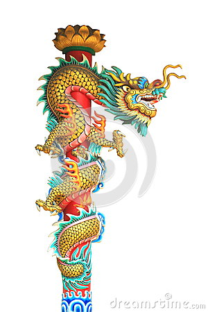 Free Dragon Statue Around The Pole Isolated On White Background Royalty Free Stock Photos - 53562678