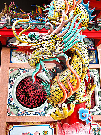 Free Dragon Statue At Chinese Temple Stock Images - 20924094