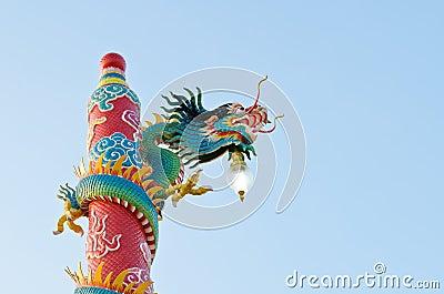 Dragon statue at Chinese shrine ,Thailand