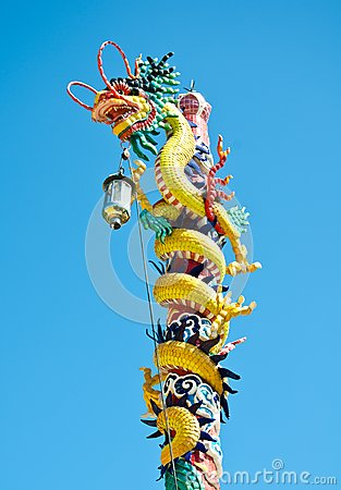 Dragon style chinese on blue sky , lopburi , Thail